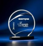 Bent Wire Circle on Black Acrylic Base Achievement Award Trophies